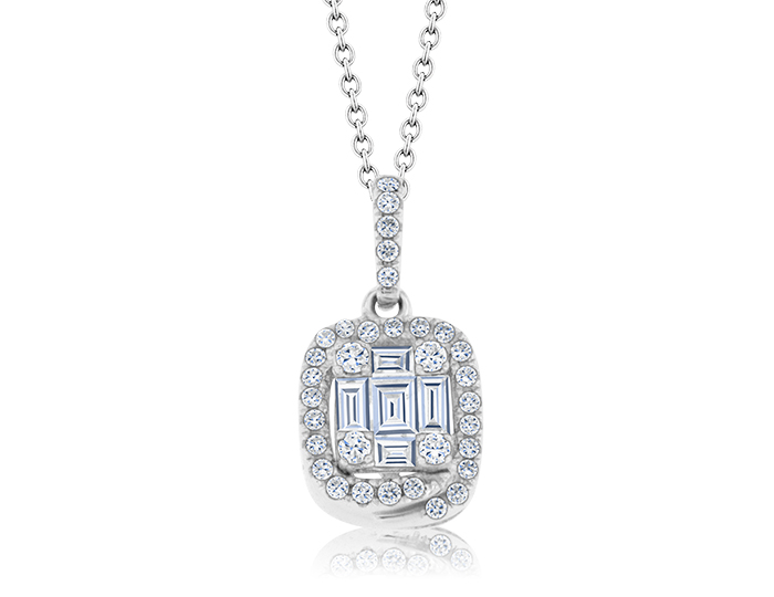 Round brilliant cut and baguette cut diamond pendant in 18k white gold.