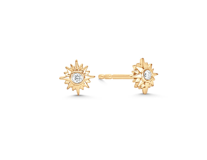 Sara Weinstock Starburst Collection round brilliant cut diamond earrings in 18k yellow gold.