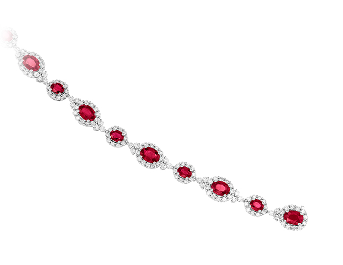 Ruby and round brilliant cut diamond bracelet it 18k white gold.