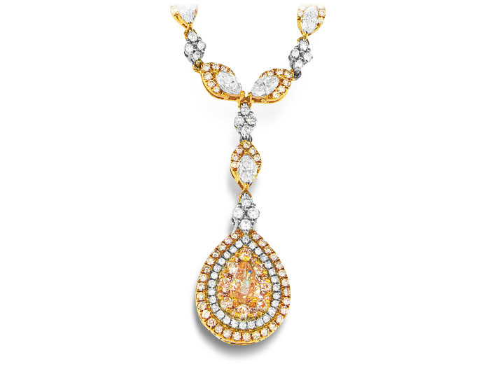 White and pink diamond necklace in 18k white and rose gold.