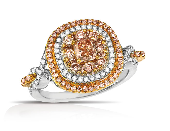 Pink and white diamond ring in 18k white and rose gold.