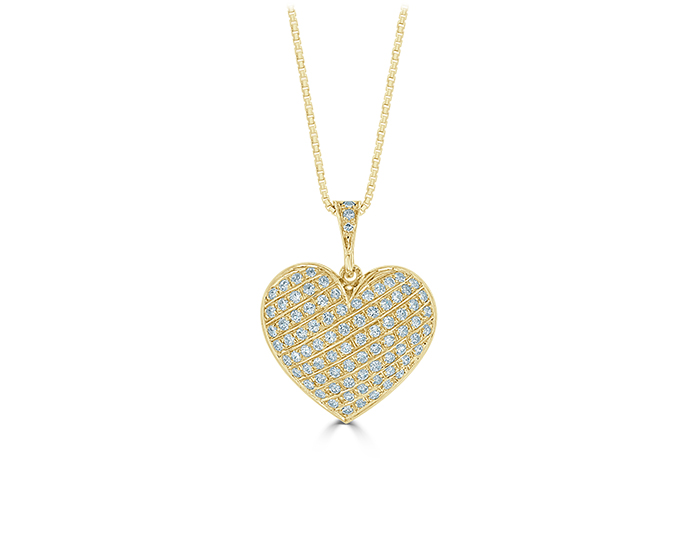 Round brilliant cut diamond heart pendant in 14k yellow gold.
