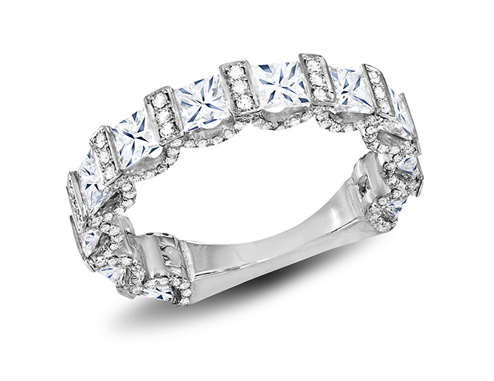 Princess cut and round brilliant cut diamond band in platinum.