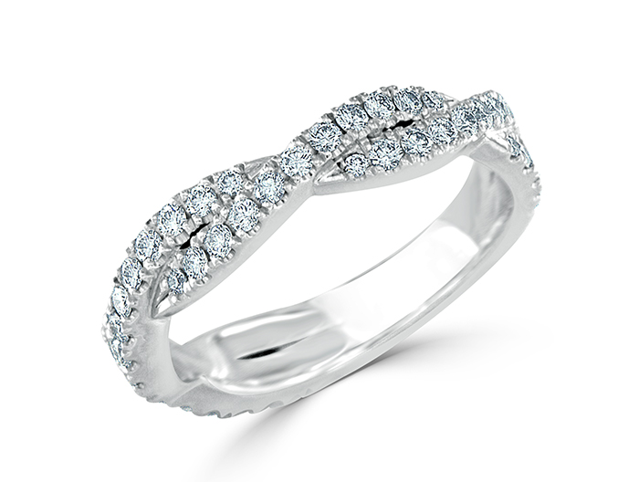 Round brilliant cut diamond wedding band in platinum.