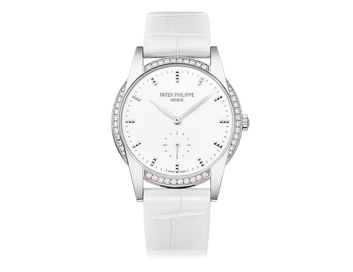 Patek Philippe Calatrava ladies 18k white gold mechanical manually wound diamond bezel strap watch featuring seconds subdial with a white laquered dial.  (7122/200G-001)