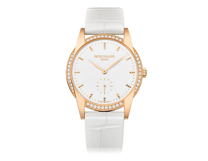 Patek Philippe Calatrava ladies 18k rose gold mechanical manually wound diamond bezel strap watch featuring seconds subdial with a white laquered dial.  (7122/200R-001)