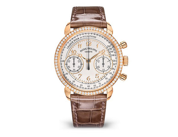 Patek Philippe women's Chronograph mechanical manually wound movement, 38mm rose gold case, diamond bezel, silvery opaline dial with applied Breguet numerals, alligator hand-stitched shiny mink gray strap.