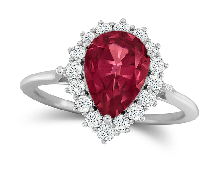 Garnet and round brilliant cut diamond in 18k white gold.