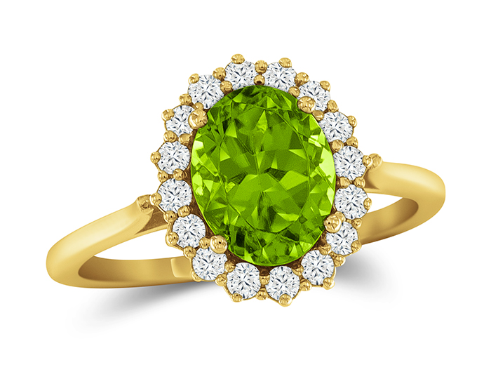 Peridot and round brilliant cut diamond ring in 18k yellow gold.