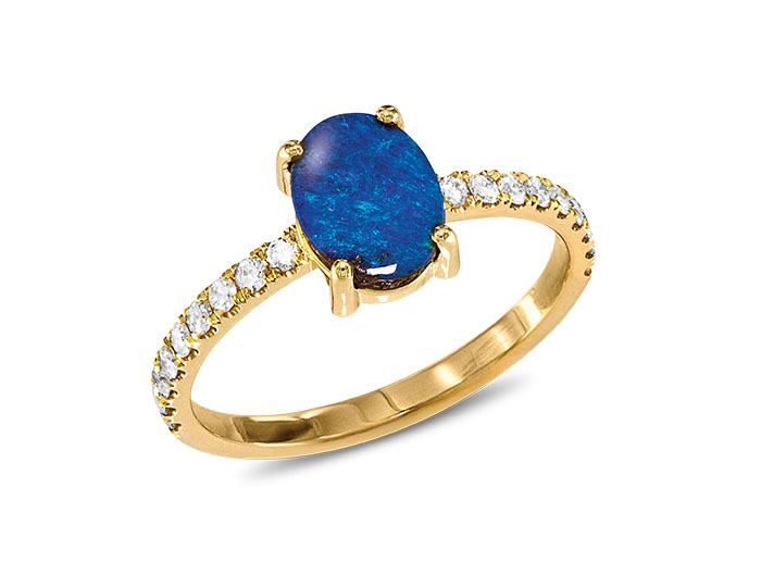 Boulder opal and round brilliant cut diamond in 18k yellow gold.