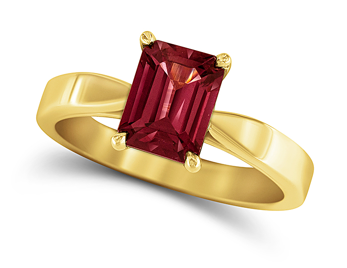 Rhodolite garnet ring in 18k yellow gold.