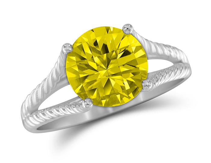 Lemon citrine ring in 18k white gold.