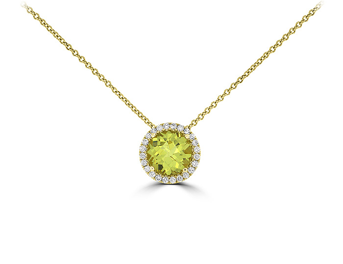 Lemon citrine and round brilliant cut diamond pendant in 18k yellow gold.