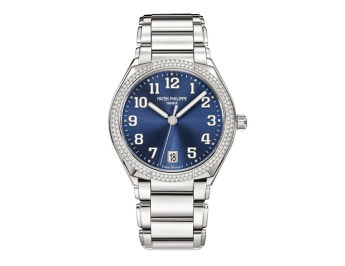 Patek Philippe Twenty~4 ladies mechanical self-winding stainless steel diamond case bracelet watch featuring a blue sunburst dial. (7300/1200A-001)