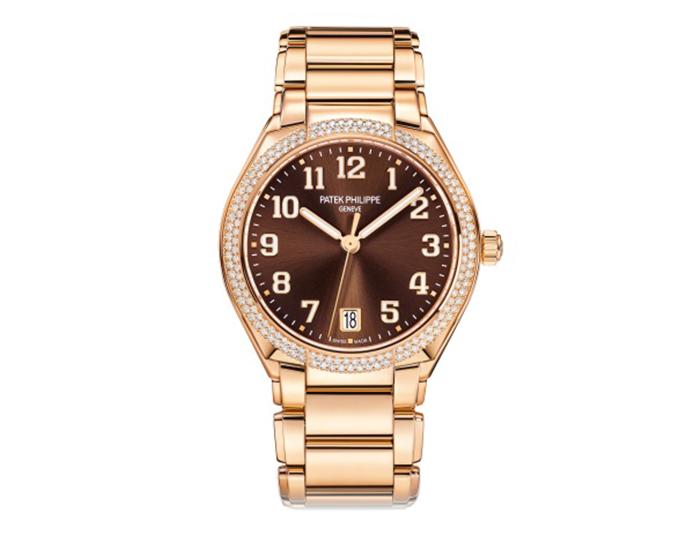 Patek Philippe Twenty~4 ladies mechanical self-winding 18k rose gold diamond case bracelet watch featuring a brown sunburst dial. (7300/1200R-001)