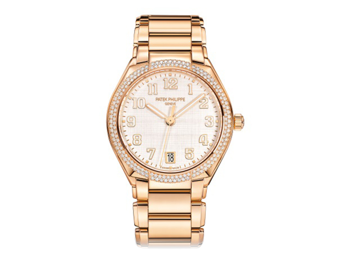 Patek Philippe Twenty~4 ladies 18k rose gold mechanical self-winding diamond bezel bracelet watch featuring a silvery, vertical and horizontal satin-finished dial. (7300/1200R-010)