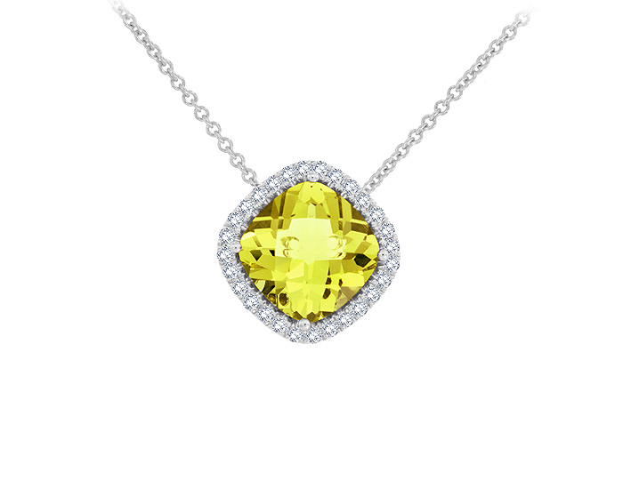 Cushion cut lemon citrine and round brilliant cut diamond pendant in 18k white gold.
