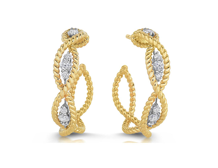 Roberto Coin Barocco Collection round brilliant cut diamond earrings in 18k yellow gold.