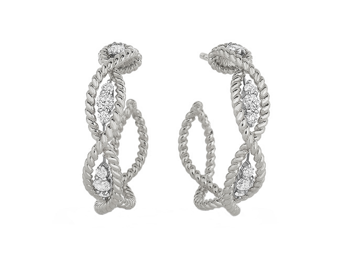 Roberto Coin Barocco Collection round brilliant cut diamond earrings in 18k white gold.