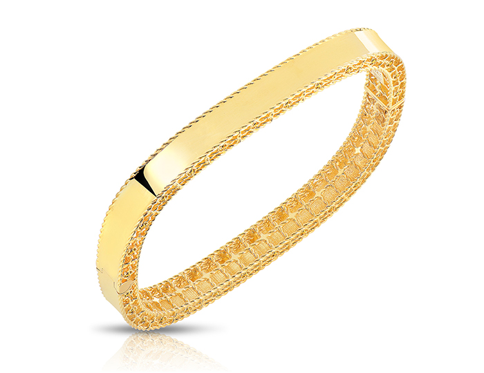 Roberto Coin Princess Collection bangle bracelet in 18k yellow gold.