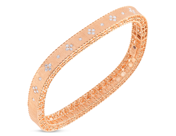 Roberto Coin Princess Collection round brilliant cut diamond bracelet in 18k rose gold.