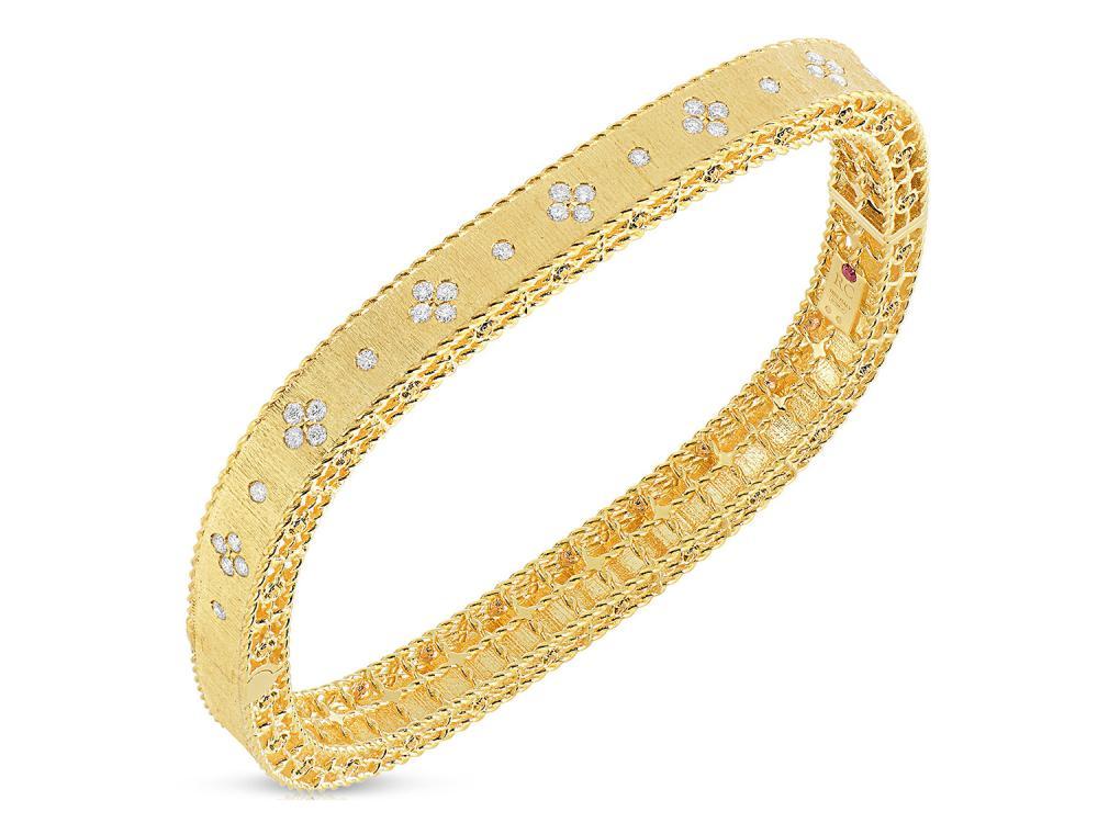 Roberto Coin Princess Collection round brilliant cut diamond bracelet in 18k yellow gold.
