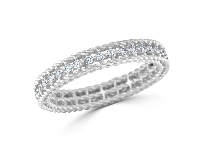 Roberto Coin Symphony Collection round brilliant cut diamond ring in 18k white gold.