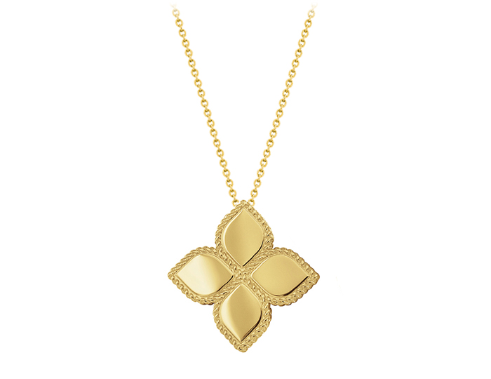 Roberto Coin Princess Flower Collection pendant in 18k yellow gold.