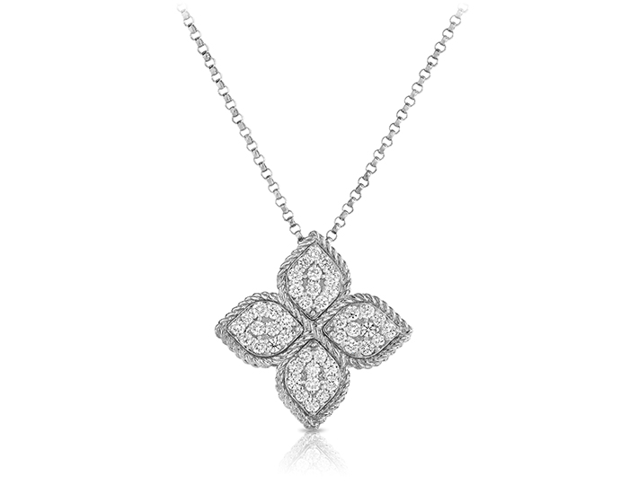 Roberto Coin Princess Flower Collection round brilliant cut diamond pendant in 18k white gold.