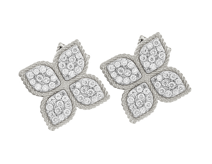 Roberto Coin Princess Flower Collection round brilliant cut diamond earrings in 18k white gold.