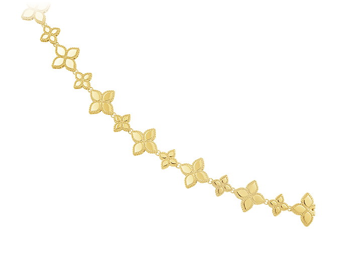 Roberto Coin Princess Flower Collection bracelet in 18k yellow gold.