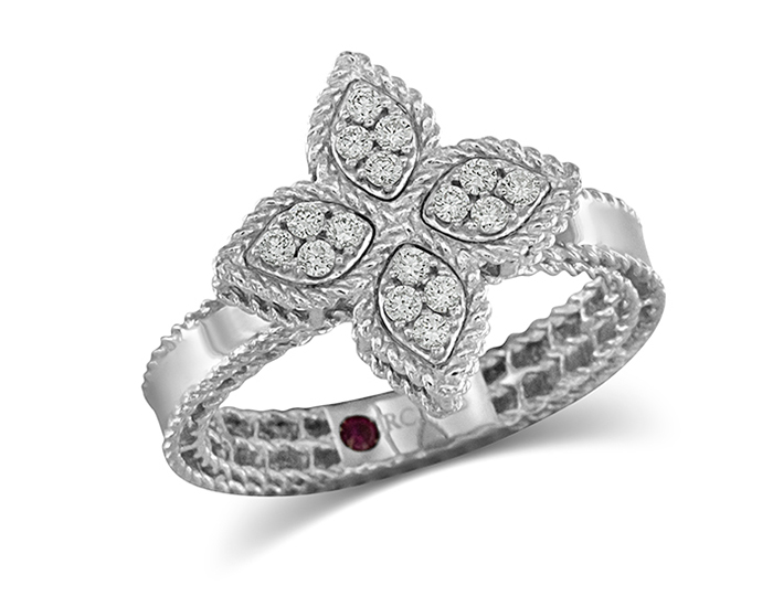 Roberto Coin Princess Flower Collection round brilliant cut diamond ring in 18k white gold.