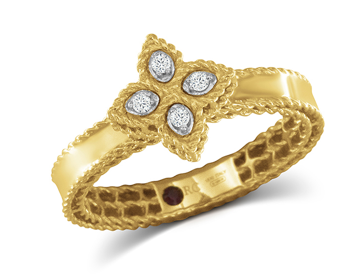 Roberto Coin Princess Flower Collection round brilliant cut diamond ring in 18k yellow gold.