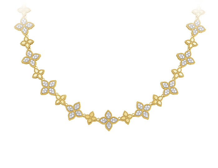 Roberto Coin Princess Flower Collection round brilliant cut diamond necklace in 18k yellow gold.