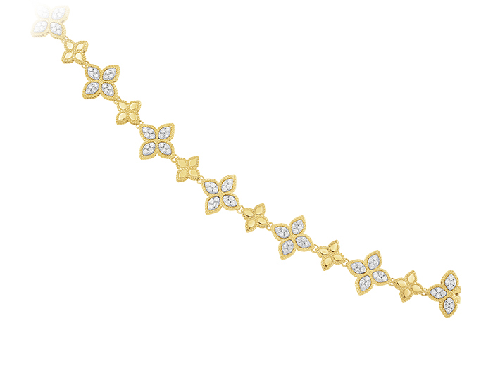Roberto Coin Princess Flower Collection round brilliant cut diamond bracelet in 18k yellow gold.