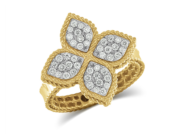 Roberto Coin Princess Flower round brilliant cut diamond ring in 18k white and yellow gold.