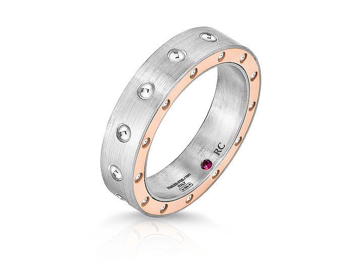 Roberto Coin Pois Moi Collection men's ring in 18k yellow gold and stainless steel.