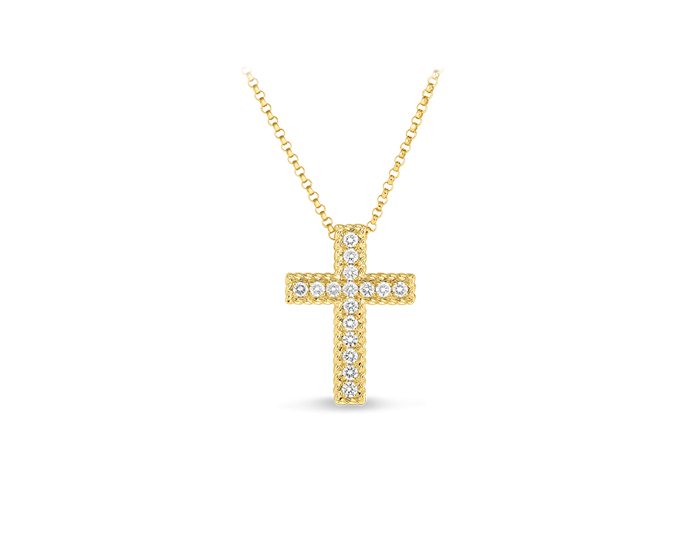 Roberto Coin Tiny Treasure Collection round brilliant cut diamond cross pendant in 18k yellow gold.