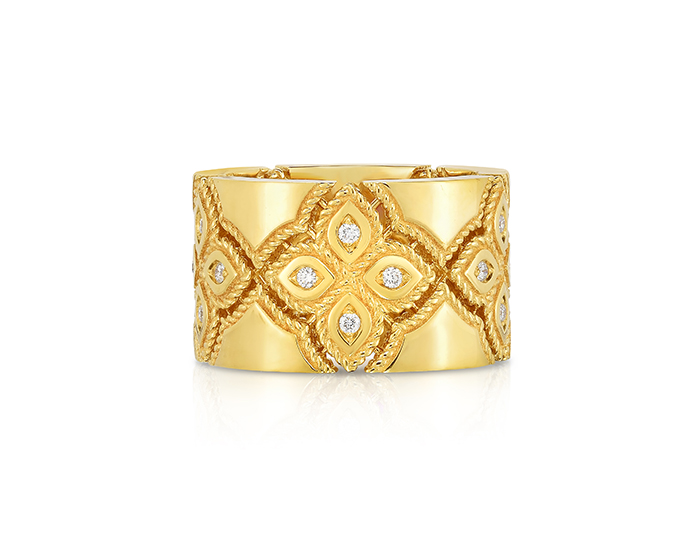 Roberto Coin Venetian Princess Collection round brilliant cut diamond ring in 18k yellow gold.