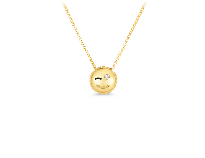 Roberto Coin Tiny Treasures Collection Emoji pendant in 18k yellow gold.