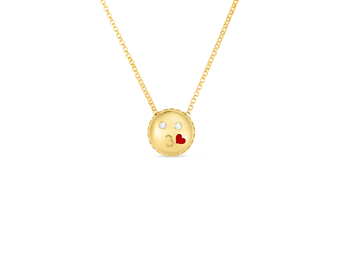 Roberto Coin Tiny Treasures Collection Emoji necklace in 18k yellow gold.