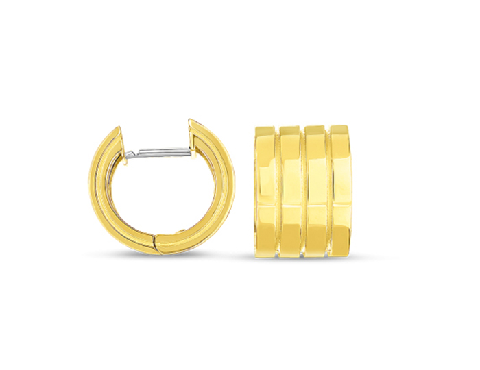Roberto Coin Portofino Collection hoop earrings in 18k yellow gold.