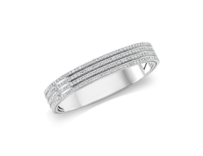 Roberto Coin Portofino Collection round brilliant cut diamond bracelet in 18k white gold.