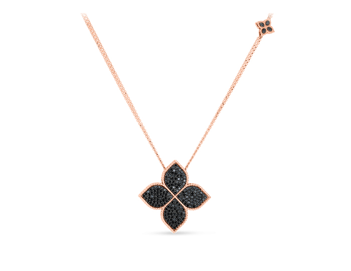Roberto Coin Flower Collection round brilliant cut black diamond necklace in 18k rose gold.