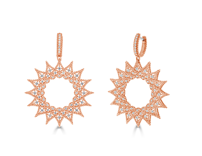 Roberto Coin Roman Nights Collection round brilliant cut diamond earrings in 18k rose gold.