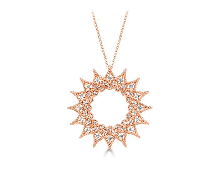 Roberto Coin Baracco Collection round brilliant cut diamond necklace in 18k rose gold.