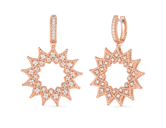 Rooberto Coin Roman Barocco Collection round brilliant cut diamond earrings in 18k rose gold.