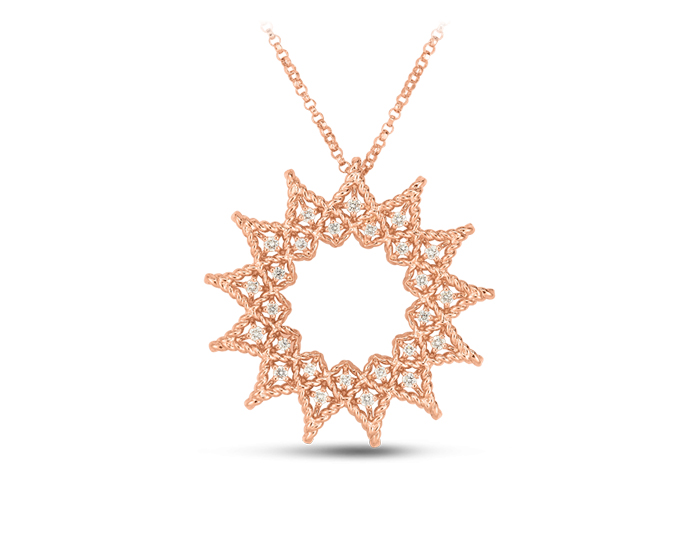 Roberto Coin Barocco Collection round brilliant cut diamond necklace in 18k rose gold.
