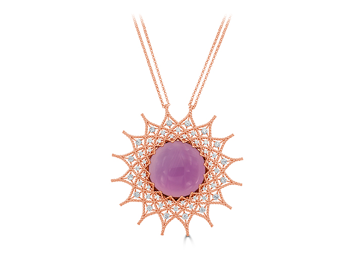 Roberto Coin Baracco Collection amethyst and round brilliant cut diamond necklace in 18k rose gold.