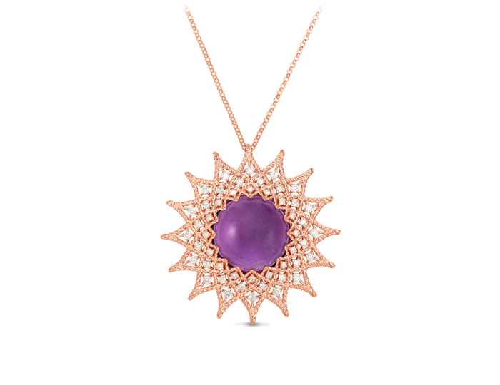 Roberto Coin Barocco Collection amethyst and round brilliant cut diamond necklace in 18k rose gold.